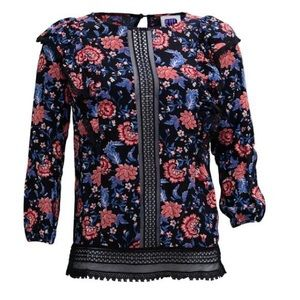 Anna Sui rose carnation print lace top NWT